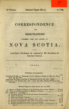 Correspondence and negotiations connected with the affairs of Nova Scotia. Laid before Parliament...