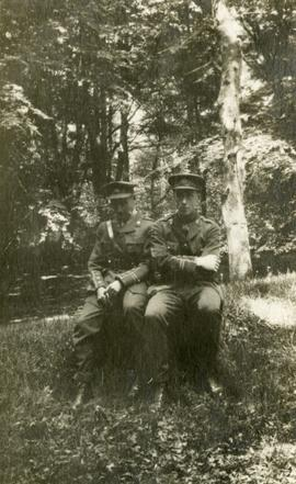 Two soldiers in the woods