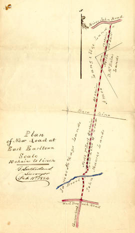 Plan of New Road at East Earltown, 1884