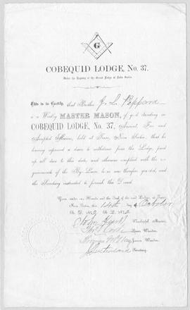 Cobequid Lodge No. 37 Certificate
