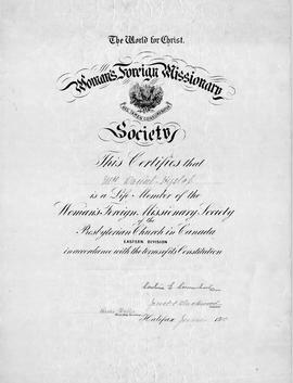 Women's Foreign Missionary Society Certificate