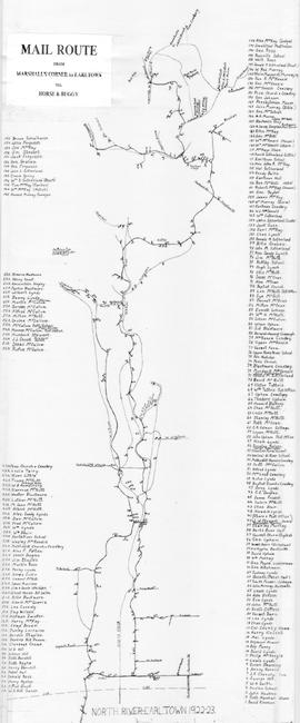 Mail Route from Marshall's Corner to Earltown, 1922-23