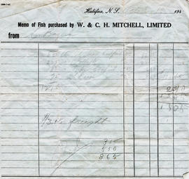 Memo of fish purchased by W. C. H. Mitchell, Limited from C. Bayers