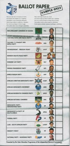 Sample ballot from the 1994 South African election