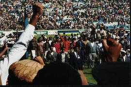Photograph of Nelson Mandela at an election rally
