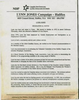 Lynn Jones : biographical notes