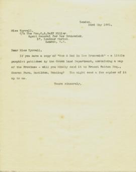 Form letters by W.A. Hickman regarding immigration inquires