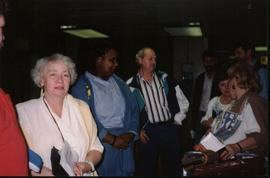 Photograph of Lynn Jones and other election observers at the airport