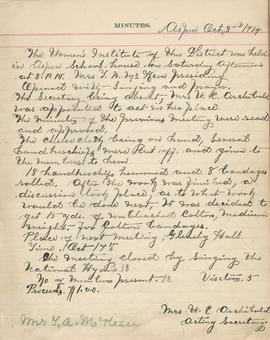 Aspen Women's Institute meeting minutes, 3 October 1914